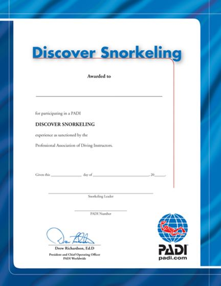 Picture of Certificate SNORKEL Discover the U/W World