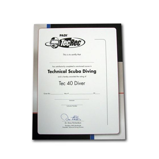 Picture of Certificate - Tec 40 Diver, Wall