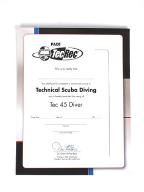 Picture of Certificate - Tec 45 Diver, Wall