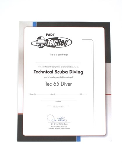Picture of Certificate - Tec 65 Diver, Wall