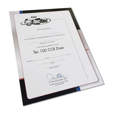 Picture of Certificate - Tec 100 CCR Diver, Wall